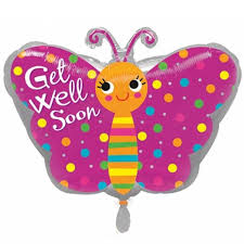 get well soon and balloons get well soon pink butterfly foil balloon balloons co uk