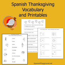 spanish thanksgiving vocabulary list printable activities
