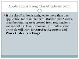 classifications in ibm maximo asset management