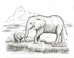 mother and baby elephant drawing print