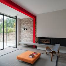 Design Home Extension Online Tigg Coll Architects Integrates Bright Red Steel Frame In London