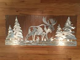 moose metal wall art rustic home decor nature inspired