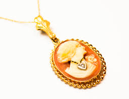 cameo gold necklace images Vintage 10 karat yellow gold emesco shell cameo pendant antique jpg