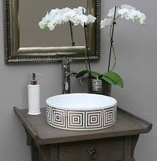 powder room sinks gold big squares hand painted sink in gray bathroom contemporary