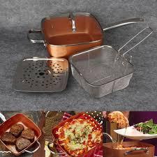 batterie de cuisine en cuivre 1 set antiadhésive cuivre carré pan pots cuisinière à induction