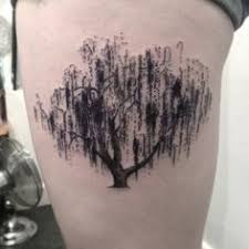 my new weeping willow tree tattoo love the sketch style tattoo