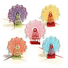 Birthday Invitation E Card Handcrafted 3d Pop Up Ferris Wheel Greeting Card Birthday Wedding