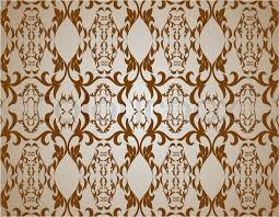 Western Drapery Old Lux Art Silk Leaf Brown Curve Tiled Retro Wealt