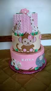 jungle baby shower cakes pink monkey jungle baby shower cake cakecentral