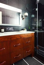 black bathroom tile ideas brown laminated wooden vanity sleek