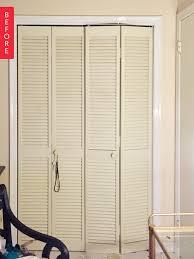 Shutter Doors For Closet Before After Bland Bi Fold Shutters To Chic Closet Doors