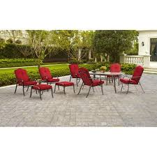 outdoor patio table seats 10 mainstays woodacre 10 piece patio dining and leisure set red seats