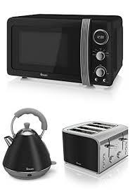 swan kitchen appliance retro set black microwave 2l black