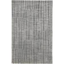 Overstock Com Home Decor Hand Knotted Grey Baton Abstract Design Wool Rug 4 U0027 X 6 U0027 Free