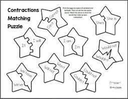 free printable contractions matching puzzle weareteachers