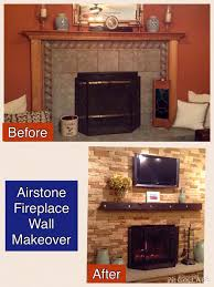 airstone fireplace makeover before and after replaced fireplace