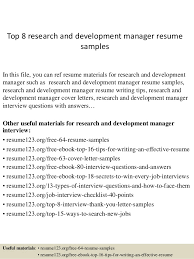 Sample Resume Manager by Top 8 Research And Development Manager Resume Samples 1 638 Jpg Cb U003d1428675133