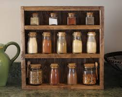 Wooden Wall Mount Spice Rack Rustic Industrial Kitchen Pot Rack Gifts For Him Wall Shelf