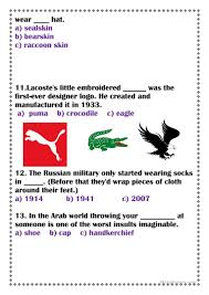 Multiple Choice Questions For Fashion Amazing Clothes Facts Worksheet Free Esl Printable Worksheets