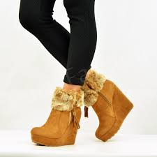 womens fur boots uk womens fur lined ankle boots wedge platforms winter