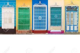 colonial architecture colonial architecture of cuba windows stock photo