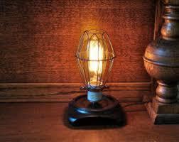 Filament Bulb Desk Lamp Bulb Cage Etsy