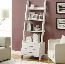 white ladder shelf bookcase for contemporary living room design