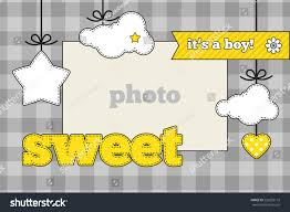 baby shower invitation template gray yellow stock vector 220293172