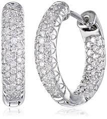 inside out diamond hoop earrings 14k white gold inside out pave diamond hoop earrings