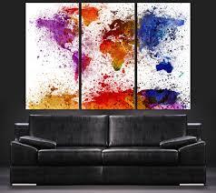 Contemporary Colors Paint Splash Watercolor World Map Canvas Art Print Contemporary