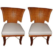Leather Dining Room Chairs For Sale Pair Of Woven Leather Curved Back Dining Room Or Side Chairs At