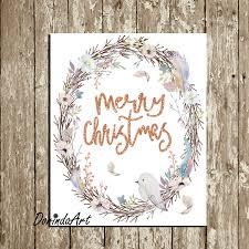 merry christmas wreath printable wall art decor watercolor large