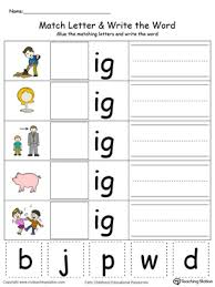 ig word family match letter and write the word in color