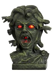 motion activated animated halloween medusa head bust with snakes