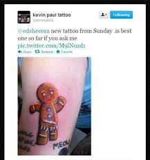 ed sheeran gingerbread man tattoo shrek tattoo inked skins pinterest shrek