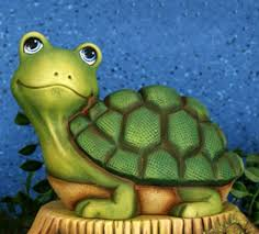 your own ceramic water garden pond turtle figurine