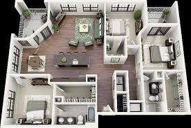 Building Plans For 3 Bedroom House 50 Three U201c3 U201d Bedroom Apartment House Plans Open Floor 3d And