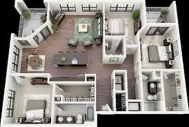 50 three u201c3 u201d bedroom apartment house plans open floor 3d and