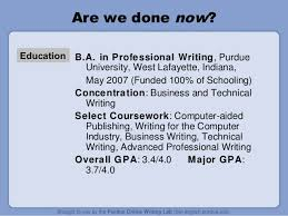 Owl Purdue Resume Developing A Resume By Purdue Writing Lab