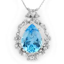 diamond blue necklace images Genuine 13 84ctw blue topaz diamond necklace 14k gold jpg