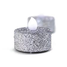 silver glitter flameless tealight candles 24 pack 424554