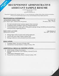 Legal Administrative Assistant Resume Sample by Extraordinary Receptionist Resume Examples