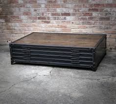 industrial coffee table with drawers flat file industrial coffee table handmade steel drawers