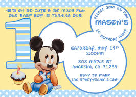 Baby First Birthday Invitation Card Baby Mickey First Birthday Invitations Iidaemilia Com