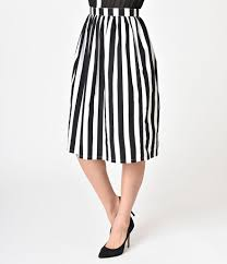 cotton skirt 1950s style black white stripes pleated cotton skirt unique