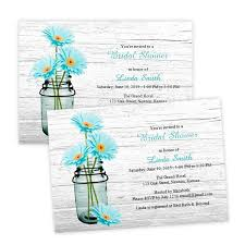 words for bridal shower invitation country bridal shower invitation aqua daisies in a jar