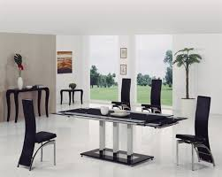 Black Glass Extending Dining Table Dakota Black Glass Dining Table With Dining Chairs Implex