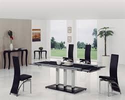 Black Glass Extending Dining Table Dakota Black Glass Dining Table With Dining Chairs Implex