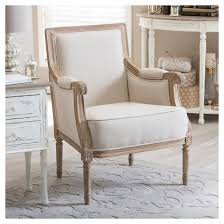 Traditional Accent Chair Chavanon Wood Linen Traditional Accent Chair Light Beige
