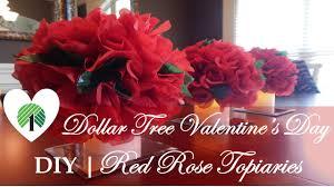 dollar tree valentine u0027s day centerpiece diy red rose topiaries